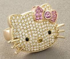 diamond hello kitty ring