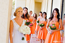orange bridesmaid dress