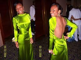 green backless dress