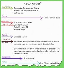 carta formal en espanol