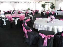 pink and black centerpieces