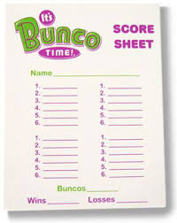 bunco tally sheets