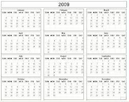 free blank calendar 2009