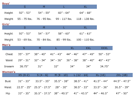 clothing size chart