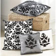 black and white damask pillow
