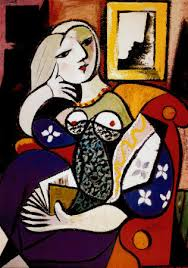 picasso woman with a book