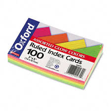 pink index cards