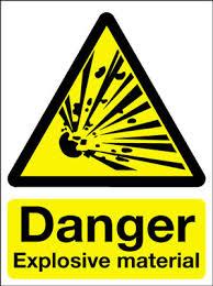 explosive hazard signs