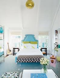 blue and brown polka dot bedding