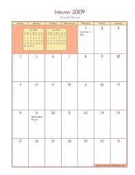 free 09 calendar