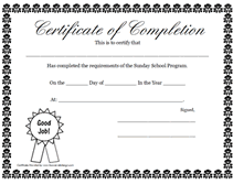 blank certificate of completion