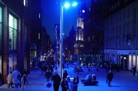 blue street lights