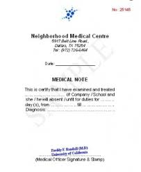 doctor note format