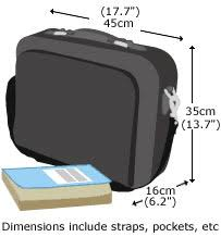 cabin luggage sizes