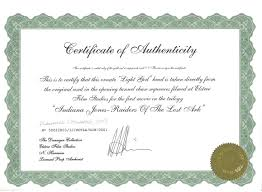 certificate of authenticity examples