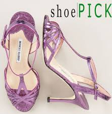purple strappy shoes