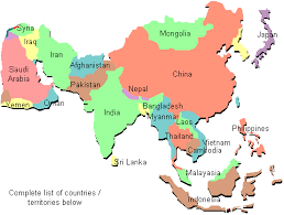 map asian countries