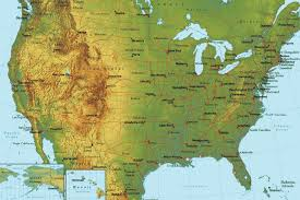 geographical map of the usa