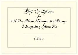 gift certificates for massage