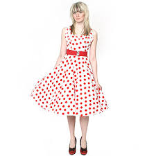 red dress with white polka dots