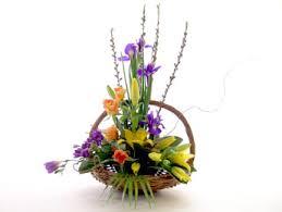 flower arrangements in baskets