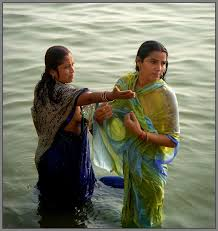 ladies bathing in river
