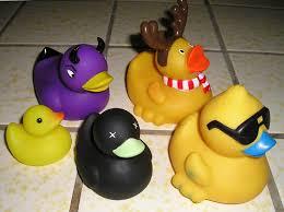 purple rubber ducks