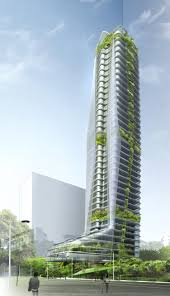 green skyscraper