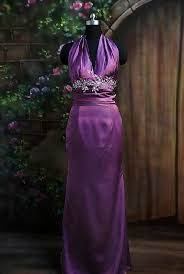 purple halter neck dress