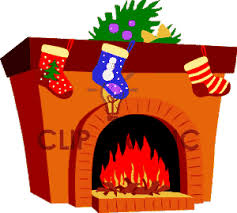 christmas fireplace clip art