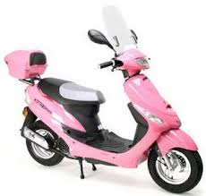 pink moped scooter