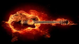 guitars with flames