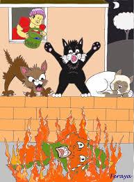 cartoon on fire