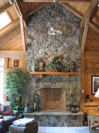 indoor stone fireplace