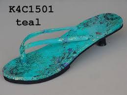 teal flip flops