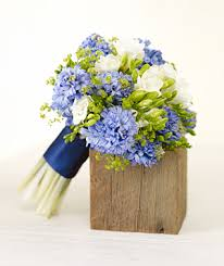 blue and yellow wedding bouquets