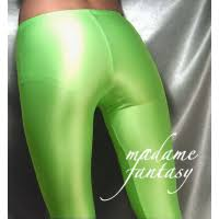 green shiny leggings