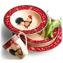 roosters dinnerware