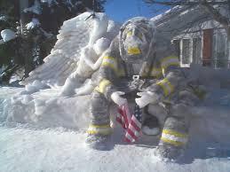 fireman ice sculpture