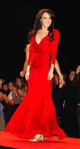 lindsay lohan red dress