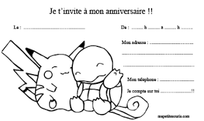 carte invitation anniversaire pokemon