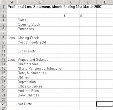 profit and loss sheet