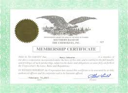 membership certificate