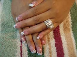 pink and white acrylics