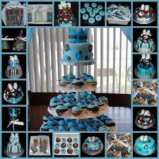 blue and brown baby shower decor