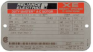 motor name plate