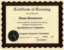 computer course certificate