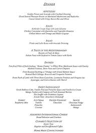 formal dinner menu