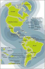 mapa del continente americano con division politica