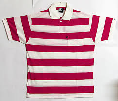red and white striped polo